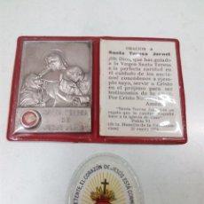 Antigüedades: RELIQUIA DE SANTA TERESA DE JESUS JORNET . ORACION Y SAGRADO CORAZON DE JESUS. Lote 136383993