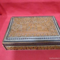 Antigüedades: ANTIGUA CAJA JOYERO TALLADA EN MADERA Y HUESO. Lote 56168616