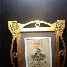 Antigüedades: ANTIGUO MARCO ART NOUVEAU FF.SG XIX. EN CAOBA SOBRE DORADO TALLADO Y CALADO. ESTABA DE SANTO. Lote 56185110