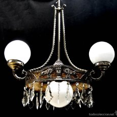 Antigüedades: FABULOSA LAMPARA ANTIGUA CIRCA 1900 MODERNISTA IMPERIO COLOR PLATA IDEAL VINTAGE CLASICO SIMIL CAREY. Lote 56191625