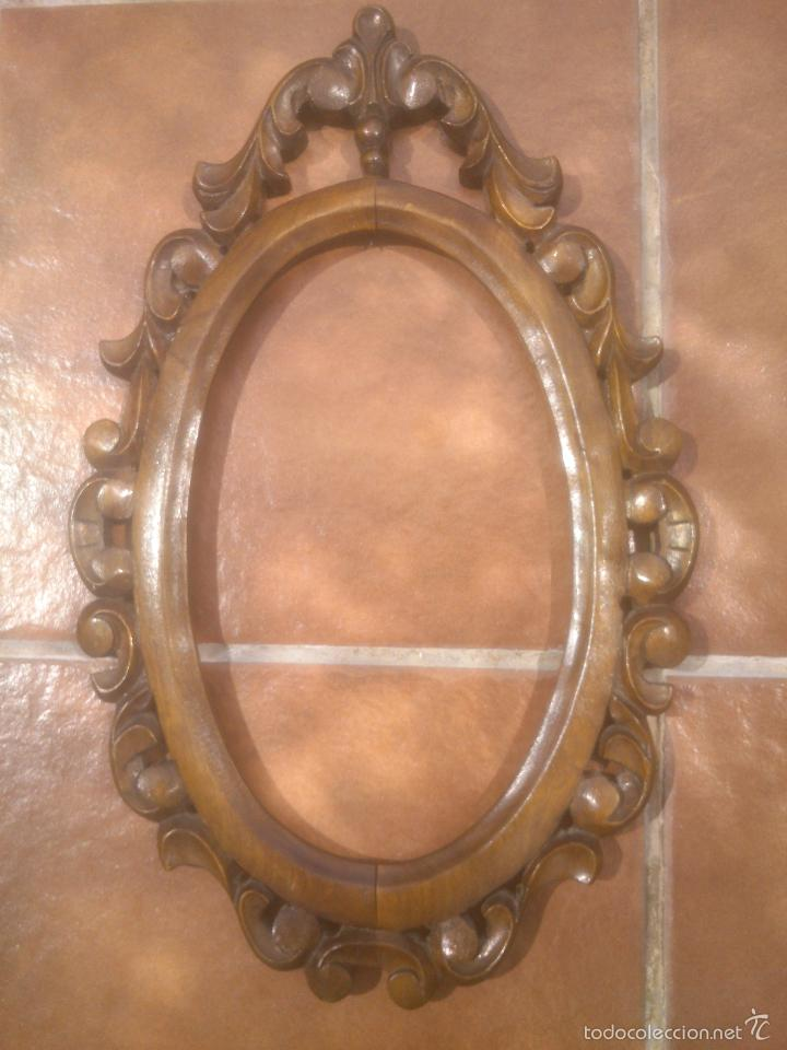 marco de madera antiguo ovalado tallado - Comprar Marcos Antiguos de ...