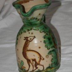 Antigüedades: BONITA JARRA GRANDE ANTIGUA CERAMICA PUENTE DEL ARZOBISPO PINTADA CON CIERVO EN BOSQUE, SAN JOSE. Lote 56202532