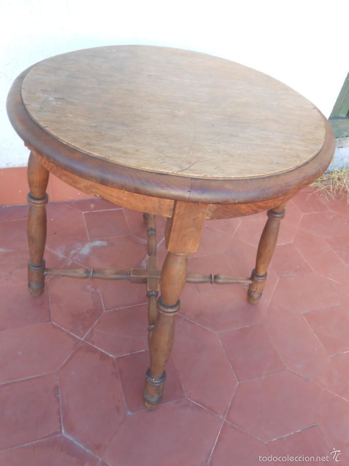 MESA DE MADERA -AÑOS 50- (Antigüedades - Muebles Antiguos - Mesas Antiguas)