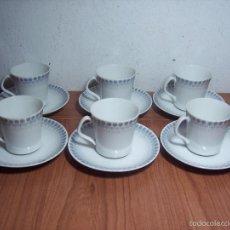Antigüedades: JUEGO DE 6 TAZAS DE CAFÉ PORCELANA SANTA CLARA (+ OTRA DE OBSEQUIO). Lote 56222197