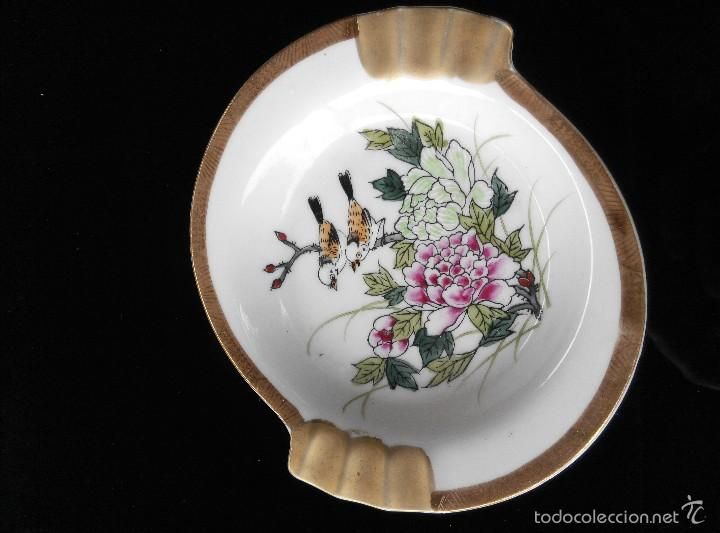 ANTIGUO CENICERO DE PORCELANA KUTANI (Antigüedades - Porcelana y Cerámica - Japón)