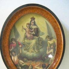 Antigüedades: PRECIOSO CONJUNTO, MARCO Y LAMINA LITOGRAFIADA RELIGIOSA, FORMATO OVALADO.. Lote 56236772