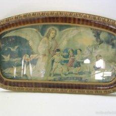 Antigüedades: CENA LITOGRAFIADA ENMARCADA DE EPOCA. Lote 56236853