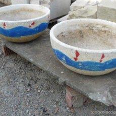 Antigüedades: PAREJA DE JARDINERAS DE PIEDRA RECONSTRUIDA. Lote 56248150