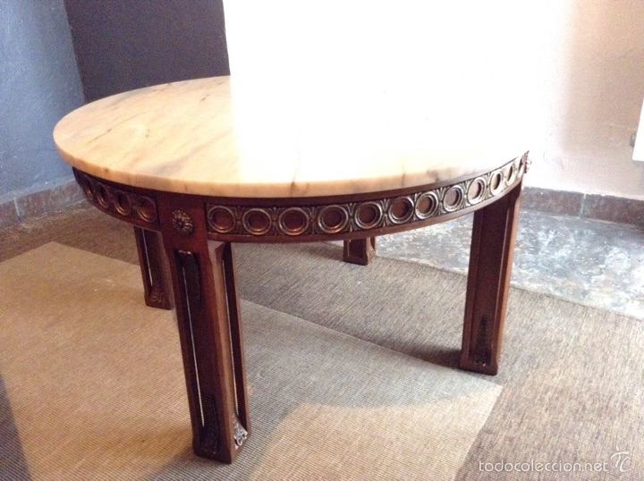 mesa redonda baja maderamrmol antigedades muebles antiguos mesas antiguas