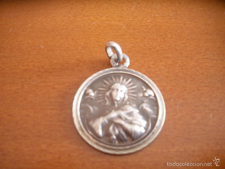 MEDALLA DE PLATA,CON VIRGEN.MADRE FIEL. (Antigüedades - Religiosas - Medallas Antiguas)