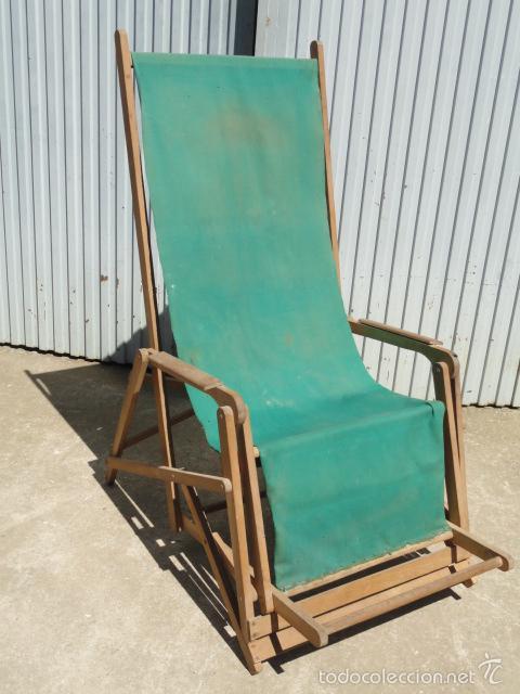 silla tumbona plegable de madera y lona