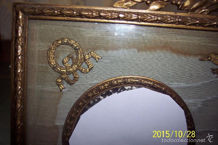 Antigüedades: ORIGINAL, IMPERIO, EN BRONCE, SEDA Y CUERO MARCO PORTA FOTOS - Foto 3 - 56258593
