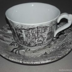 Antigüedades: PLATO Y TAZA CAFE PORCELANA PONTESA ESPAÑA ROYAL CHINA. Lote 56263812