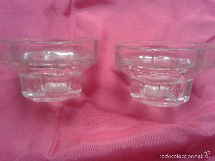 Antigüedades: Lote de 2 Portavelas de Cristal. - Foto 3 - 56277043