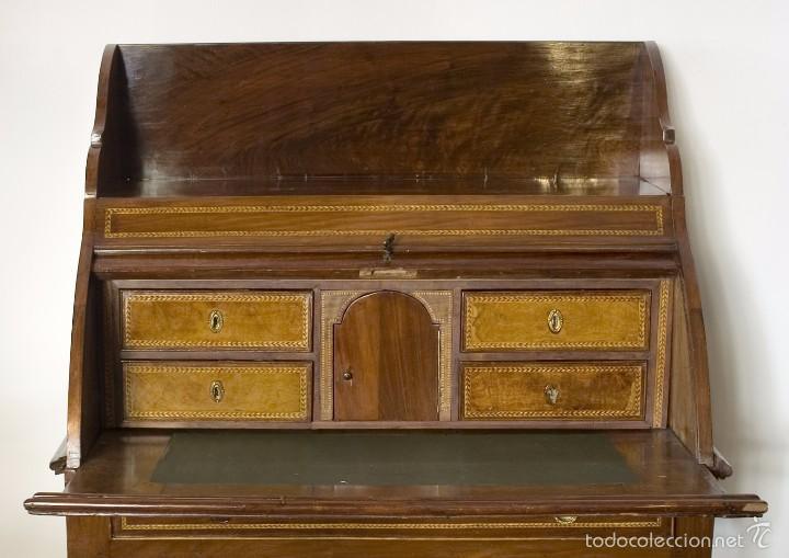 Antigüedades: Buró Carlos IV madera de caoba - Foto 3 - 56283177