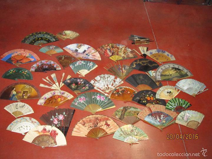 Antigüedades: Antiguo Lote de 36 Abanicos en Materiales Nobles Pintados a Mano - Foto 4 - 56285634