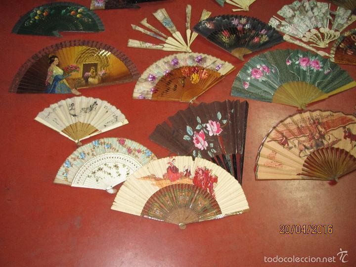 Antigüedades: Antiguo Lote de 36 Abanicos en Materiales Nobles Pintados a Mano - Foto 5 - 56285634