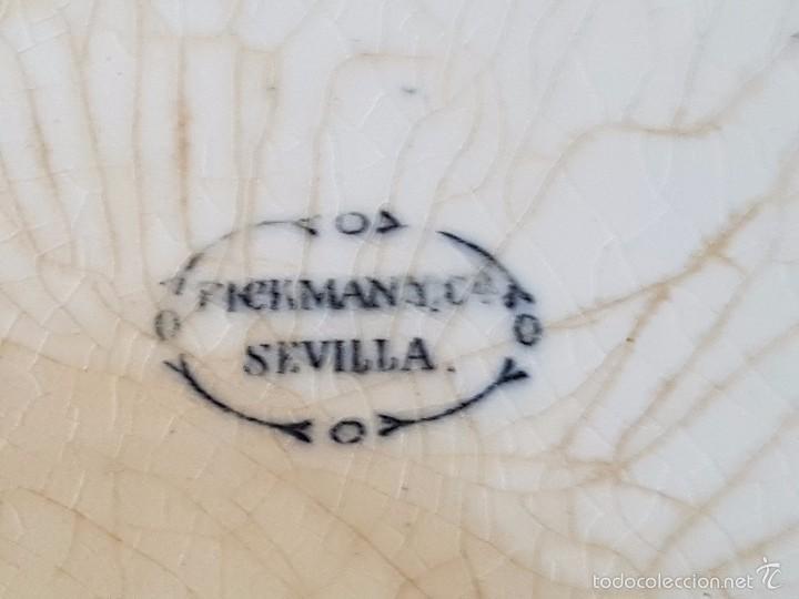 Antigüedades: FUENTE OVALADA LA CARTUJA PICKMAN Y CIA. DECORACION NEGRO CON SELLO USADO 1880-1899 - Foto 2 - 56291865