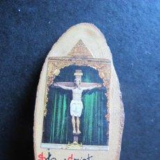 Antigüedades: RECUERDO SANTO CRISTO DE CABRERA GRABADO EN MADERA. Lote 137866221