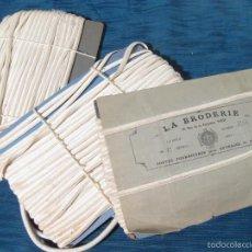 Antigüedades: 3 ROLLOS DE FORNITURA O CANUTILLO DE TELA. LA BRODERIE. PARIS. Lote 56306931