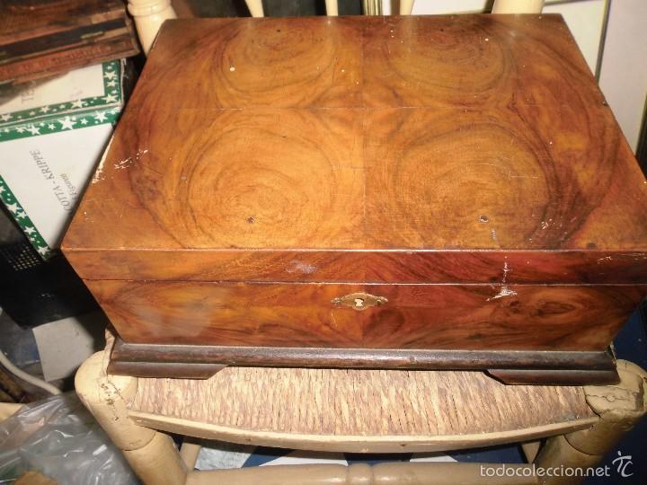 caja antigua de tocador neceser madera de raiz con tipo joyero y espejo antiguo