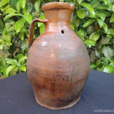 Antigüedades: ALFARERÍA CASTELLANA: MEDIDA PARA VINO DE TAJUECO. Lote 56313329
