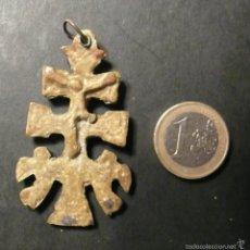 Antigüedades: ANTIGUA CRUZ DE CARAVACA DE BRONCE DE 5,50 CM.. Lote 56317011