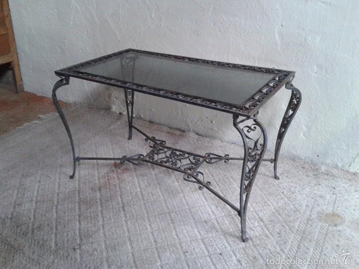 Mesa antigua de hierro estilo Luis XV. Mesa de centro salón. Mesa de jardín  antigua. Mesa de terraza