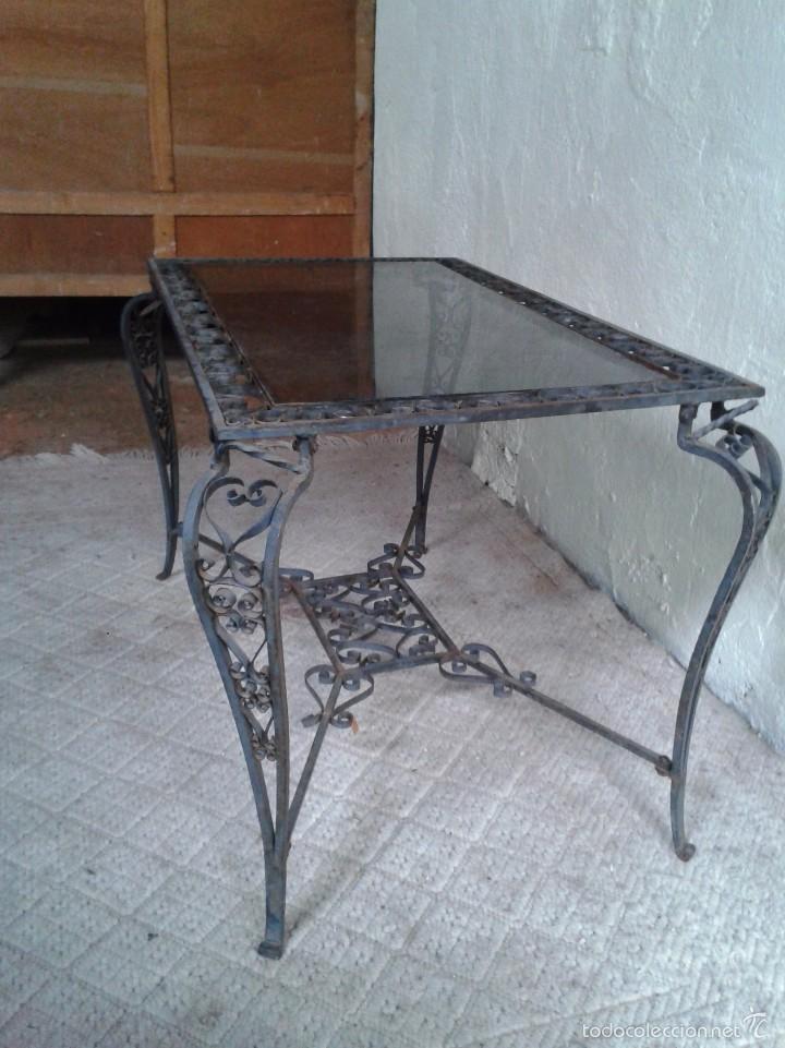 Antigüedades: Mesa antigua de hierro forjado estilo Luis XV. Mesa baja de centro de salón terraza jardín - Foto 6 - 56317019
