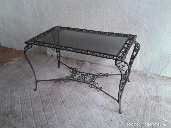 Antigüedades: Mesa antigua de hierro forjado estilo Luis XV. Mesa baja de centro de salón terraza jardín - Foto 8 - 56317019