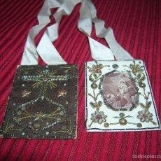 Antigüedades: MUY ANTIGUO ESCAPULARIO DE LA VIRGEN DEL CARMEN BORDADO A MANO. Lote 56325448