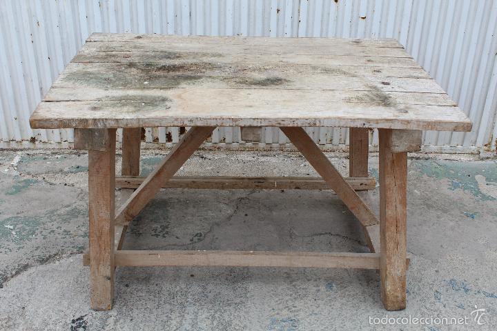 Mesa rustica en madera maciza para matanza de c comprar mesas antiguas en todocoleccion 56335539 - Mesa madera maciza rustica ...