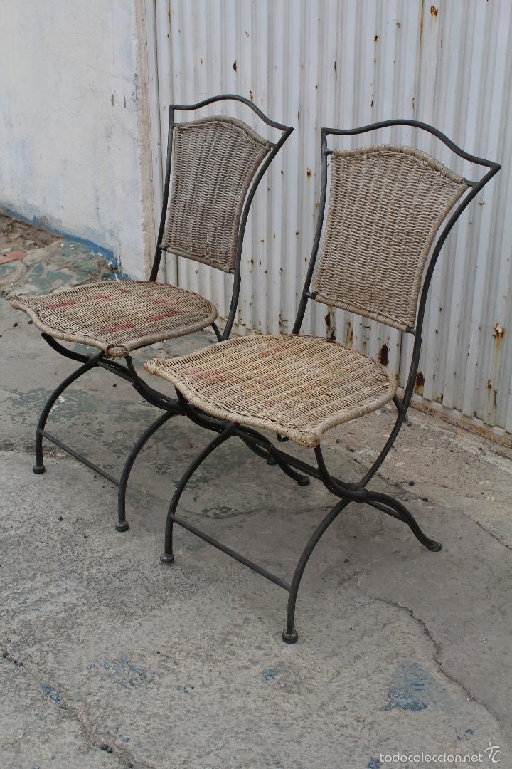 2 sillas de jardin plegables en hierro y bambu comprar for Sillas plegables jardin