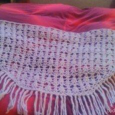 Antigüedades - Antiguo manton hecho de croche, blanco. - 56373634