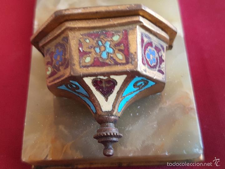 Antigüedades: CRUZ PILA BENDITERA ESMALTE SOBRE FONDO DE MARMOL VERDE VETEADO - PRECIOSA-LIQUIDACION COLECCION - Foto 5 - 32334091