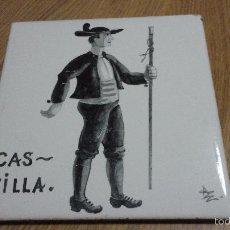 Antiguidades: ANTIGUO AZULEJO POPULAR.CASTILLA.FIRMADO AMBROS ESCANELLAS.ONDA ESPAÑA.. Lote 56399661