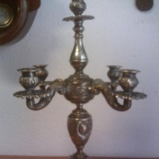 Antigüedades: ~~~~ CANDELABRO DE CINCO LUCES SIGLO XIX, LABRADO, BAÑO DE PLATA ~~~~. Lote 56401722