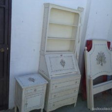 Antigüedades: CAMA ,ESCRITORIO Y MESITA MADERA DE MOGNO. Lote 56429184
