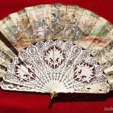 Antigüedades: ANTIGUO ABANICO DE MARFIL DOBLE FAZ SIGLO 19. Lote 56460613
