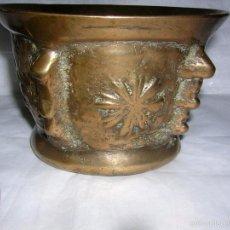 Antigüedades: ALMIREZ O MORTERO DE BRONCE DE SOLES Y COLUMNAS, MUY ANTIGUO, S. XVIII FINALES. Lote 56463175