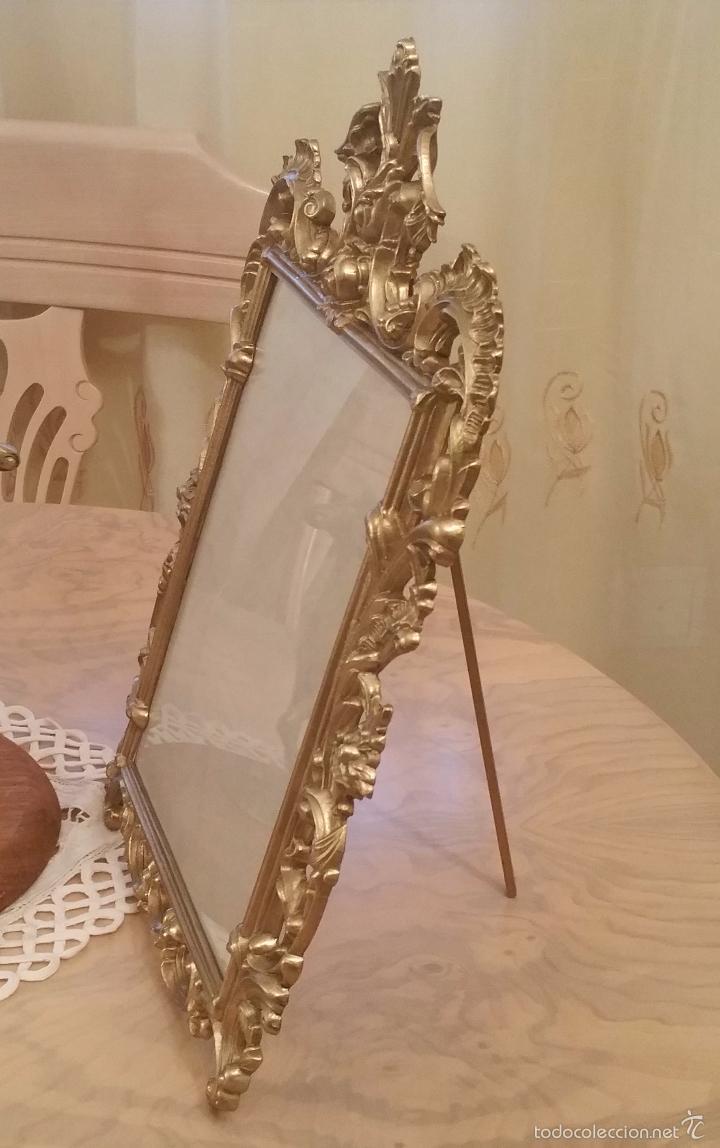 Antigüedades: antiguo y precioso marco de bronce con cristal, límpido y protegido con barniz de metales - Foto 2 - 119740243
