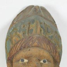 Antigüedades: SOUVENIR DE TRINIDAD. ROSTRO TALLADO EN MADERA DE COCO. MEDIADOS SIGLO XX. . Lote 56474267