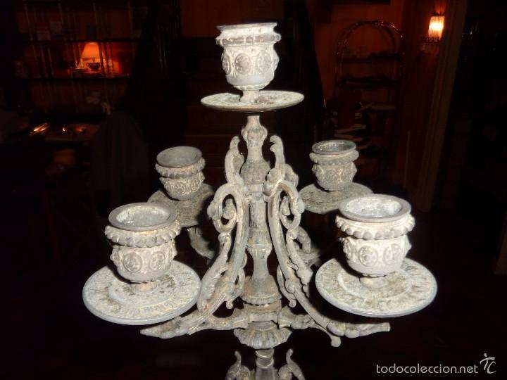 Antigüedades: ANTIGUO CANDELABRO CON BASE DE MARMOL. - Foto 3 - 56482063