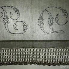 Antigüedades: EMBOZO DE CAMA DE MATRIMONIO. BATISTA DE LINO. BORDADO A MANO. ENCAJE.ESPAÑA.XIX. Lote 56483511