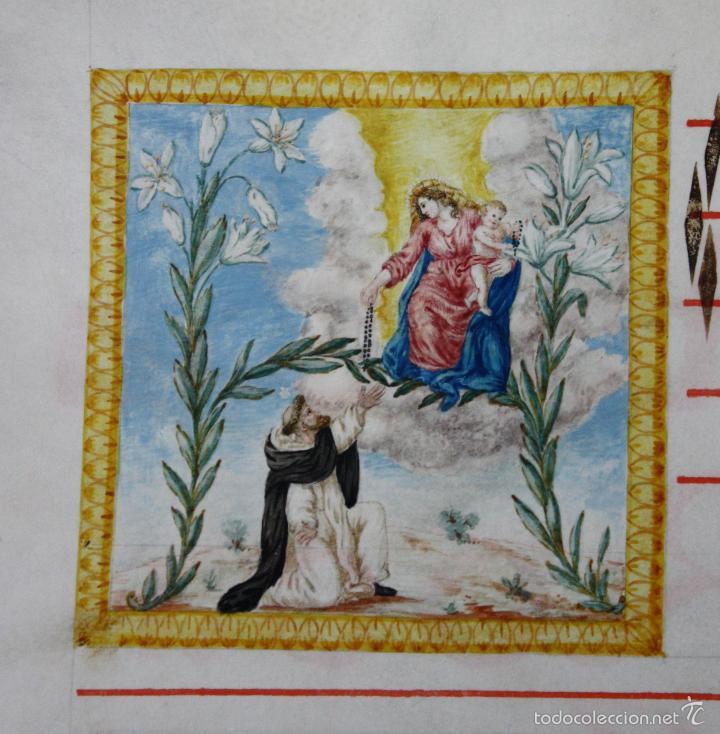 Antigüedades: HOJA DE CANTORAL SOBRE PERGAMINO. SIGLO XVII. DORSO Y ANVERSO. BELLISIMA ESCENA RELIGIOSA - Foto 2 - 56483896