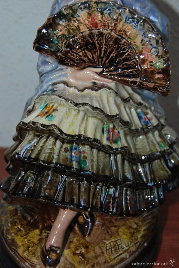 Antigüedades: FIGURA DE CERÁMICA DE VALENCIA DE ANTONIO PEYRÓ - GITANA FLAMENCA - VALENCIANA CON PERICÓN - AÑOS 20 - Foto 6 - 56488071
