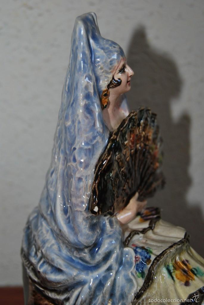 Antigüedades: FIGURA DE CERÁMICA DE VALENCIA DE ANTONIO PEYRÓ - GITANA FLAMENCA - VALENCIANA CON PERICÓN - AÑOS 20 - Foto 9 - 56488071