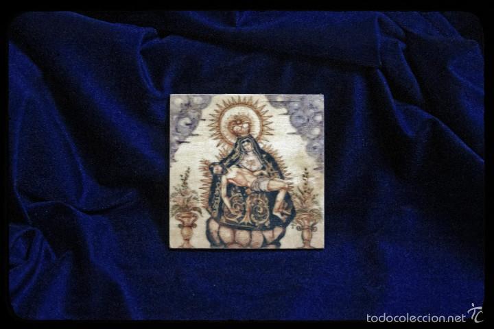 BONITA PLACA DE MADERA 10X10 CON VIRGEN DE LAS ANGUSTIAS. (Antigüedades - Religiosas - Varios)