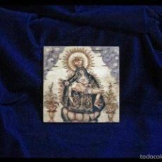 Antigüedades: BONITA PLACA DE MADERA 10X10 CON VIRGEN DE LAS ANGUSTIAS.. Lote 56488909