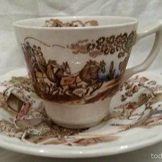 Antigüedades: JUEGO 4 TAZAS DE CAFÉ TRANSFERWARE COACHING DAYS RIDGWAY STAFFORDSHIRE ENGLAND. Lote 56493449